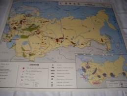 - VENDS Belle CARTE Géographique Bi-Face 91 Cm X 79cm L'URSS Et La CHINE économiques . - Mapas Geográficas