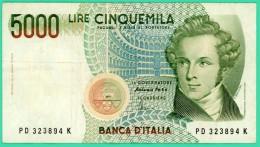 5000 Lires - Italie - N° PD 323894 K  -  Sup - 1915 - [ 2] 1946-… : République