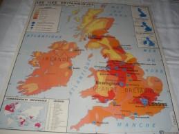 - VENDS Belle CARTE Géographique Bi-Face 91 Cm X 79cm Les Iles Britanniques Et La Chine. - Mapas Geográficas
