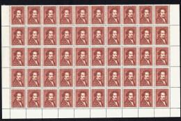 1950  Moritz Daffinger   MiNr 948   Kompletter 50er  Bogen Gefaltet Trennung  ** -  3 Briefmarken * - 1945-60 Ungebraucht