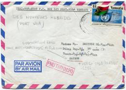 VANUATU LETTRE PAR AVION DEPART PORT VILA ?-?-86 POUR SAIGON AVEC TAXE ANTI-CAPITALISTE 0,20 DONG - Vanuatu (1980-...)