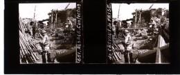 Photo Plaque De Verre / Vue Stéréo / WW1 Guerre 14-18 / Alsace - Confection De Chevaux De Frise - Plaques De Verre