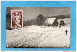 MARCOPHILIE- Croix Rouge N°877-seul Sur Cpa -HAUTEVILLE-LOMPNES - Ferme Guichard Sous La Neige -en 1950 - Hauteville-Lompnes