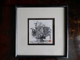 Art Contemporain - CHINE - Voilier  - Encre De Chine - Cca 1985 - Watercolours