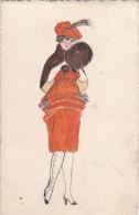 Belle CPA Illustrée Authentique CARTE PEINTE  Femme MODE Fourrure Etole Et Manchon - Illustrateurs & Photographes