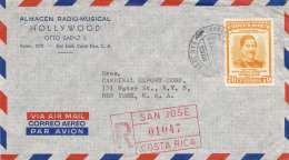 COSTA RICA 1958 - 70 Centimos Auf LP-R-Brief Gel.v.San Jose > New York - Costa Rica
