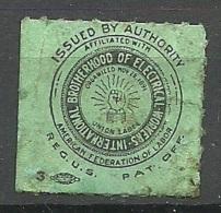 1891 International Brotherhood Of Electrical Workers American Association Of Labor - Cinderellas