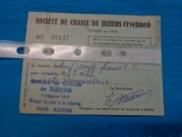Carte  De Chasse  -les Yvelines -juziers-cotisation 1981-1982 - Maps