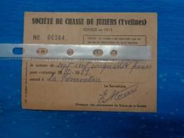 Carte  De Chasse  -les Yvelines -juziers-cotisation 1980-1981 - Maps