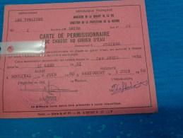Carte  De Permissionnaire De Chasse Au Gibier D'eau -les Yvelines-juziers 1980 Lot 22 - Altri