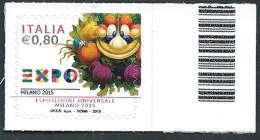 """Italia 2015 ; EXPO Milano 2015 """"mascotte"""". Francobollo Di Bordo Destro. - 6. 1946-.. Repubblica"""