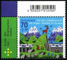 BRD - Michel 3245 Eckrand Links Oben - ** Postfrisch (B) - Ausgabe 02.06.2015 - 70+30C  Für Den Umweltschutz - Ungebraucht