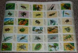 Rare Planche N°1202 De Timbres-vignette à 0,20 NF, Animaux, Les Insectes, Scolaire, Caisse D'Epargne - Sonstige