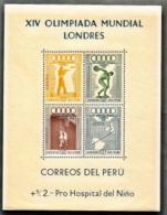 Peru,  Scott 2016 # C81a,  Issued 1948,  S/S Of 4,  MNH,  (Minor Sml Light Bends BL Corner),  Cat $ 50.00,  48 Olymp, - Perù