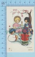 Italy  Signé K. Scheggia -   Enfant Jesus Enseignant Les Nations  - Holy Card Santini Image Pieuse - 2 Scans - Imágenes Religiosas