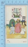 Italy Signé H. Scheggia  -  Ange Emportant Des Enfants Au Lit   - Holy Card Santini Image Pieuse - 2 Scans - Imágenes Religiosas