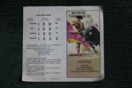 CORRIDA - Programme De La Temporada 1983 à BEZIERS - Tickets - Vouchers