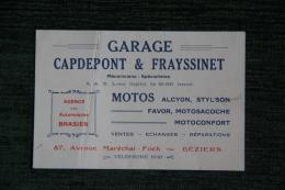 BEZIERS - Carte De Visite Du Garage GADEPONT Et FRAYSSINET, Mécaniciens Spécialistes MOTOS, 87 Avenue FOCH - Visiting Cards