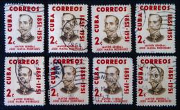 GENERAL JOSE MARIA RODRIGUEZ 1954 - VARIETES DE COULEURS ET D'OBLITERATIONS - YT 412 - MI 433 - Cuba