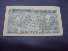 North Vietnam Viet Nam 50 Xu AU Banknote 1948 - Blue Serial Number - RARE / 02 Images - Vietnam