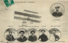 LES AVIATEURS PILOTES DU FARMAN CHAVEZ EFIMOI TETARD VAN DEN BORN ET BRUNEAU DE LABORIE - Aviatori
