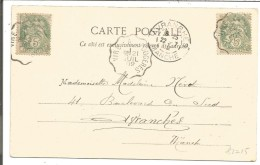 AMBULANT DE VIRE A FOUGERES SUR CARTE DU 21/2/1902 - Marcophilie (Lettres)