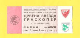 Old Sport Ticket - Soccer, Crvena Zvezda : Grasshopers,  1990 - Other