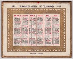 Calendrier Almanach Des Postes & Des Télégraphes  1901 - Calendriers