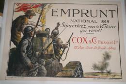 GUERRE 1914-1918- WWI- AFFICHE  EMPRUNT NATIONAL 1918- COX & CIE-  CHAVANNAZ- PARIS - 1914-18