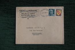 Enveloppe Timbrée Publicitaire , BAGNOLET, ART Et LUMINAIRE, 105 Avenue GALLIENI - Lettres & Documents