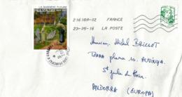 Marianne Et La Jeunesse.  Auto-collant, Sur Lettre Adressée ANDORRE, Illustration Tableau Barrière Fleurie De Sérusier. - France