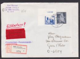 Berlin 500 Pf Radioteleskop Mit 10 Pfg. Albrechtsburg Meissen DDR  Währungsunion R-Eil-Bf Schmölln Bei 65 Gr Portogenau - Berlin (West)