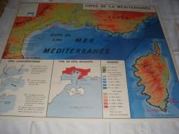 - VENDS Belle CARTE Géographique Bi-Face 91 Cm X 79cm Hydrographie De La France Et Côtes Méditerrannéeennes - Mapas Geográficas