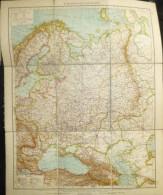 Europäisches Russland - 1:8'700'000 - 40cm X 50cm 9 Teile Auf Leinen Gezogen 1908 - Topographische Karten