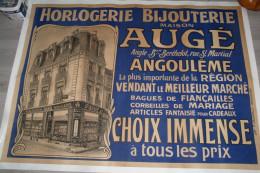 16 - ANGOULEME- AFFICHE HORLOGERIE-BIJOUTERIE- MAISON AUGE- RUE ST MARTIAL-BERTHELOT-LITHO-F. JAVANAUD - Afiches