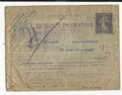 1916 - ENVELOPPE ENTIER POSTAL PNEUMATIQUE TYPE SEMEUSE De NEUVILLE PONT PIERRE (INDRE ET LOIRE) => VEZENOBRES