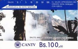 TARJETA DE VENEZUELA DE Bs.100 DEL SALTO ANGEL  (DETRAS COLOR MARRON CON 4 RAYAS) - Venezuela