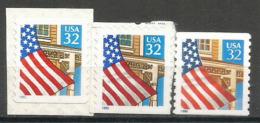 Drapeau Sur Porche: Stars And Stripes Des Etats-Unis, 3 Timbres Neufs ** Autocollants, Formats Différents De 1995 - Etats-Unis