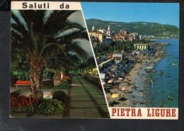 Q1612 CARTOLINA Di Saluti Da PIETRA LIGURE In Prov. Di Savona - Multipla Con Spiaggia - VIAG. 1979 - ITALIA, LIGURIA - Italie