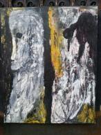 Christian ARRIGONI (1942-) Portrait Au Corbeau - HST Signée - Radierungen