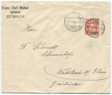 1521 - Perfin Beleg Der Firma Franz Carl Weber In Zürich - 1882-1906 Armoiries, Helvetia Debout & UPU