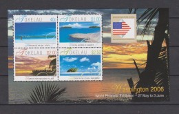 Tokelau Block Mi 35 World Philatelic Exhibition Washington 2006 - Flag - Sea - Beach - Tokelau