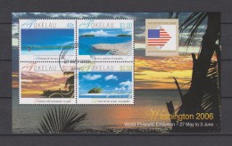 Tokelau Block Mi 35 World Philatelic Exhibition Washington 2006 - Flag - Sea - Beach - First Day Cancellation Atafu - Tokelau
