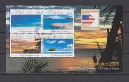 Tokelau Block Mi 35 World Philatelic Exhibition Washington 2006 - Flag - Sea - Beach - First Day Cancellation Nukunonu - Tokelau