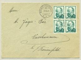 Schweiz - 1941 - 4x5c G.Keller In Block On Cover From Berg (Thurgau) To Nussbaumen - Pro Juventute