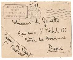 RUEIL, SEINE ET OISE. HOPITAL AUXILIAIRE N° 261. Sanatorium De La Malmaison Sur Enveloppe. - Marcophilie (Lettres)