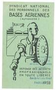 Carte Syndicat National Des Personnels Des Bases Aériennes, 1958 - Cartes