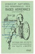 Carte Syndicat National Des Personnels Des Bases Aériennes, 1960 - Cartes