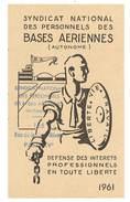Carte Syndicat National Des Personnels Des Bases Aériennes, 1961 - Cartes
