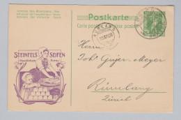 Schweiz Ganzsache Mit Privatzudruck 1908-12-10 Zürich Werbezudruck Steinfels Seifen - Entiers Postaux
